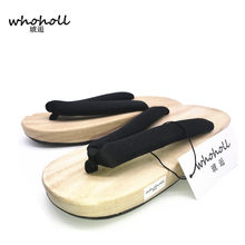 2cbbecbbb478f Women flip-flops clogs 2017 summer female sandals Japanese geta cosplay  costumes flip-flops pinch flat solid wood slippers