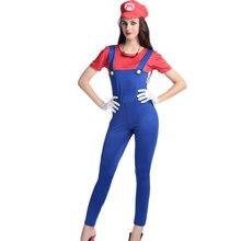 2017 Nuevos Calientes Rojo Super Mario Traje Mujeres Buzos Ropa Fontanero Sexy Disfraces de Halloween Cosplay Para Las Mujeres W531813