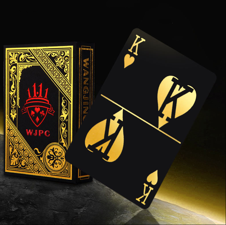 Gold Foil Plated Plastic Poker Game Playing Cards Gift Collection Black Poker Cards Play Trick Gift 3 Color