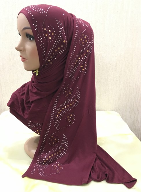 H1339 fashion modal elastic jersey cotton long scarf with rhinestones women s headwrap fast delivery free