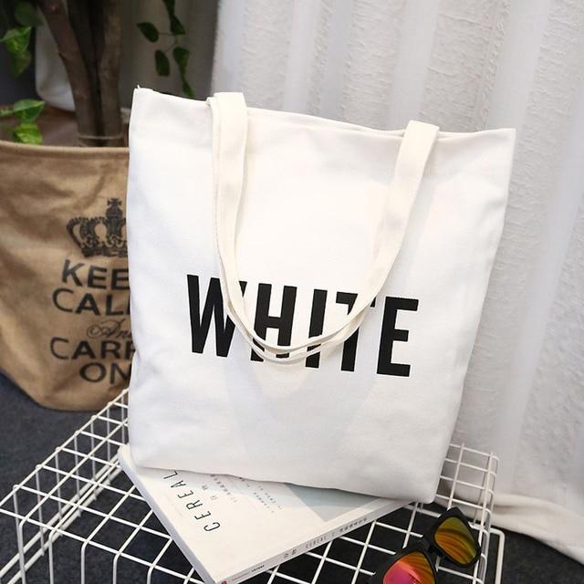 Women Canvas Tote Bag Fashion Shoulder Bag Concise Letter Printing Shoulder Cloth Bags Ladies Duty Cotton Shopping Bags 1