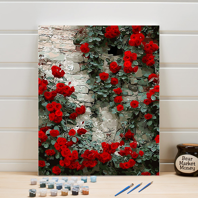 Paint Picture By Number Flowers One Piece Acrylic Coloring Hand Painted Canvas Oil Painting For Living Room Wall Adults Arts DIY