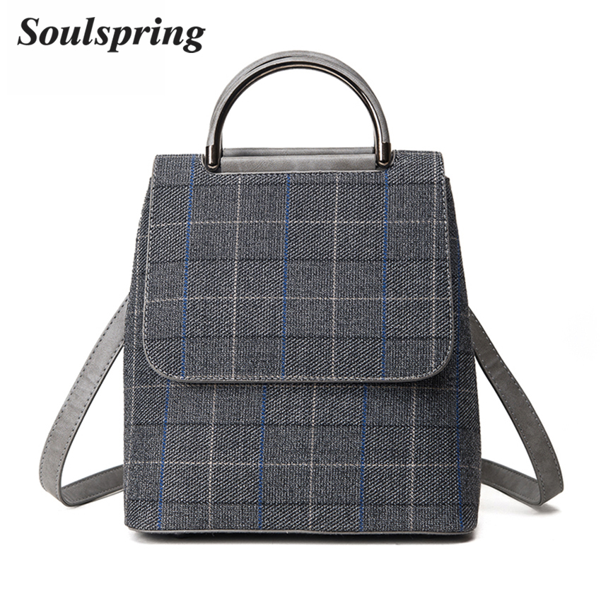 Plaid Cotton Fabric Backpacks For Teenage Girls Preppy Style School Bag Women High Quality Female Backpack Small Gray Sac A Dos women backpack mochila backpack for travel sac a dos korean style backpacks for teenage girls high quality bag gift for new year