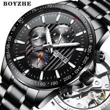BOYZHE Herren Neue Automatische Mechanische Uhr Edelstahl Mode Casual Leucht Luxus Marke Sport Uhren Relogio Masculino