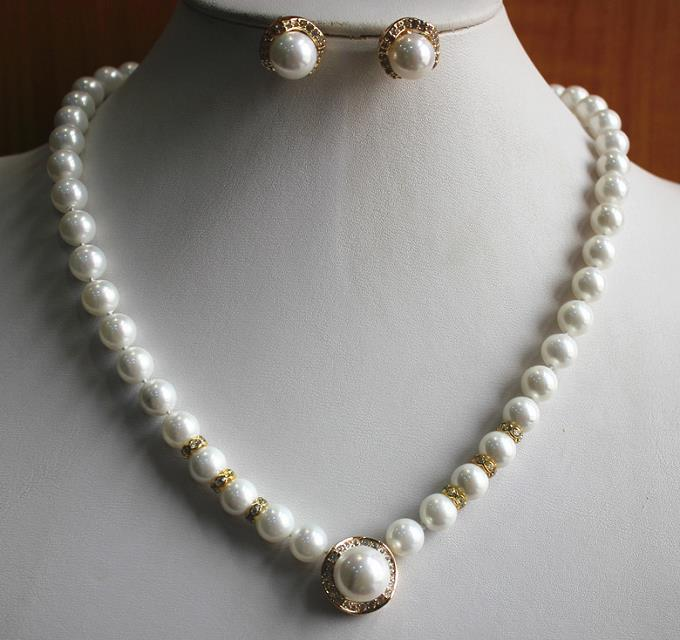 white baroque pearl & carved girl necklace 17-18 Bridal Wedding word silver-jewelry