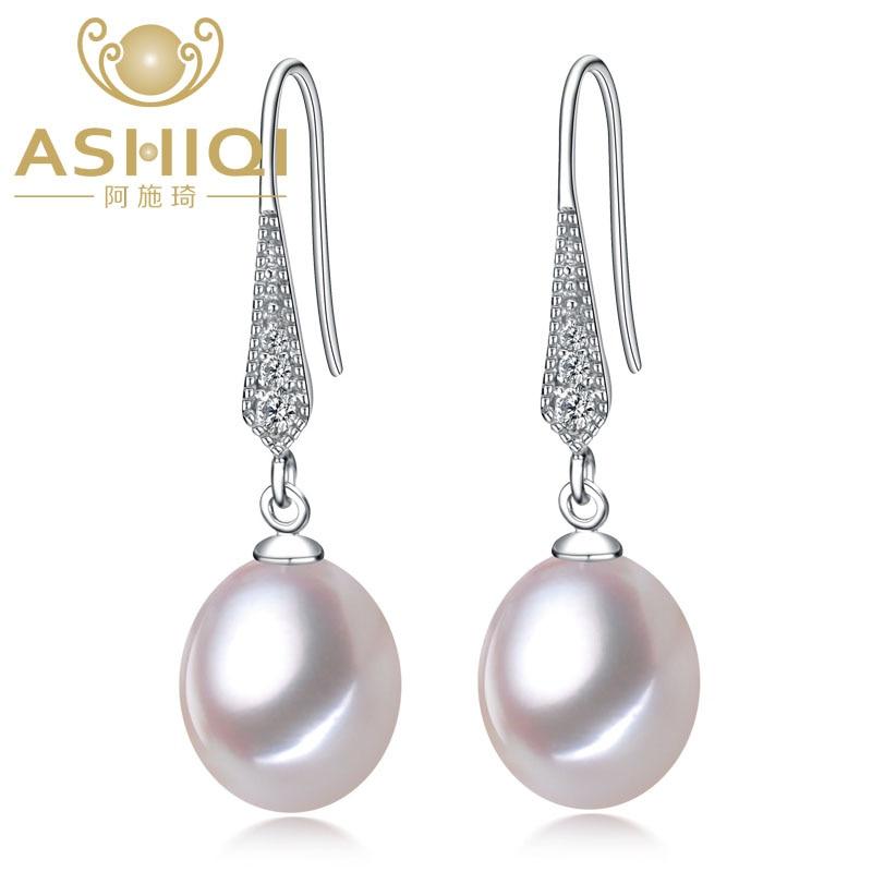 Real 925 sterling silver Earrings Natural Freshwater Pearl Earrings Teardrop Pearl jewelry For Women christmas earrings gift