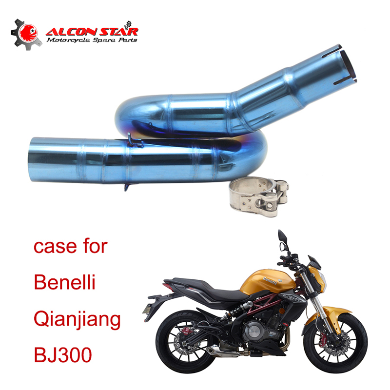 Alconstar-BJ300GS Motorcycle 51mm Connect Middle Pipe Exhaust Pipe Muffler for Benelli BJ300GS BN300 without Exhaust laser mark motorcycle modified muffler sc carbon fiber exhaust pipe for benelli bn600 bn302 tnt300 tnt600 bn tnt300 302 600 gt