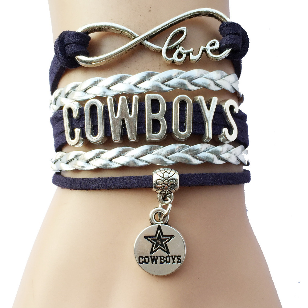 Infinity Love Dallas Cowboys Team Bracelets- Drop Shipping NCAA Football Leather Suede Bracelets Bangle Gift ...