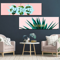 Nordic Green Plant Canvas Painting Wall Pictures , Tropical Palm Banana Turtle Leaf Canvas Prints And Poster Wall Art Home Decor