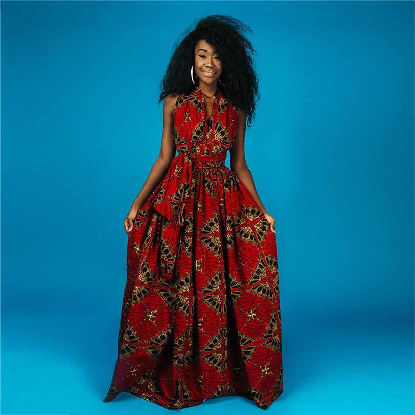 Uzun afrika elbiseler kadın geleneksel afrika kıyafeti Dashiki Ankara bandaj Maxi elbise çoklu aşınma baskı yaz giysileri