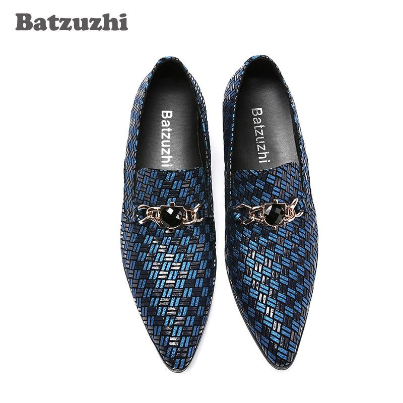Japanischen Blau Herrenschuhe Diskothek Grau blau Kleid Batzuzhi grau Atmungsaktive Schuhe Persönlichkeit Stil Herren Business leder Spitz FIdnpq6nw