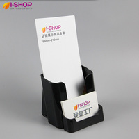 Good Quality Black Plastic 1 3 A4 Brochure Holder With Card Display Stand For Bank Restaurant