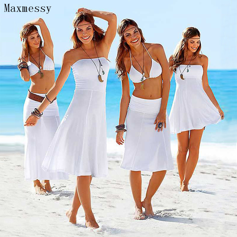 08155afffe Maxmessy More Wear Beach Cover Up Bikini Swimwear Women Tube Top Beach Dress  Swimming Cover Ups Bathing Suit Rip Curl MC246