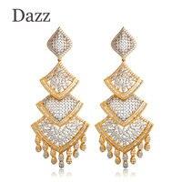 Dazz Long Pendant Dangle Earrings For Women Two Tone Wedding Party Tassel Ear Jewelry Accessory Dubai Indian Big Earring Aretes