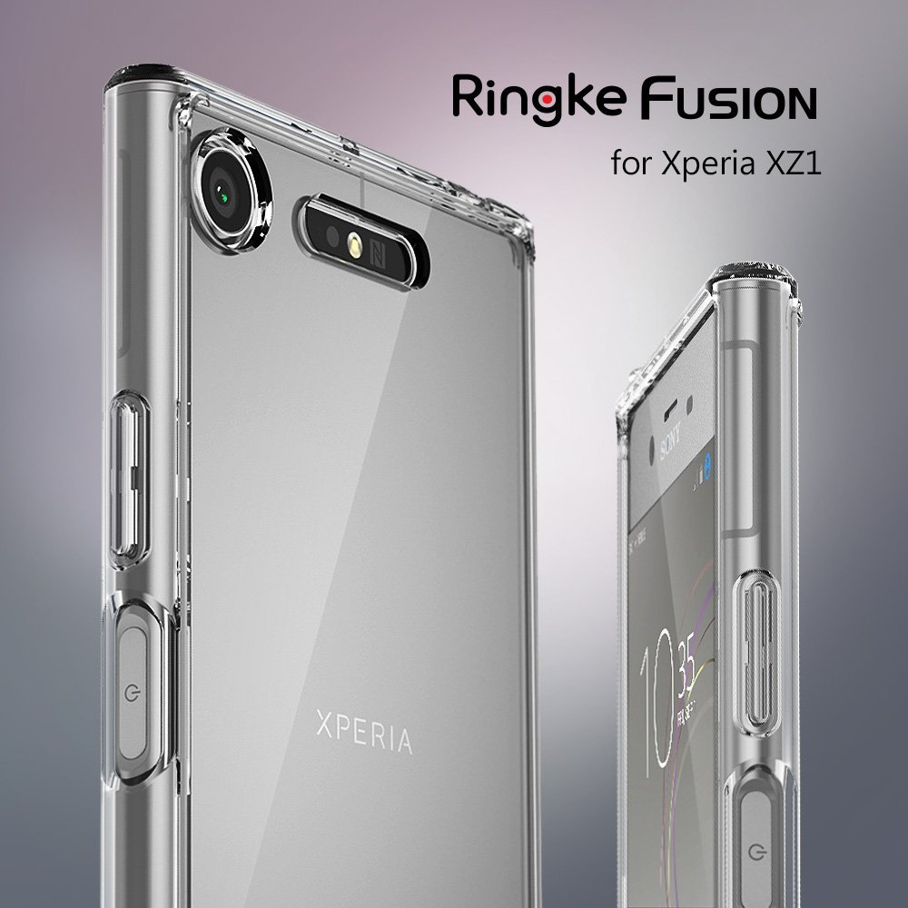 Ringke Fusion Case for Sony Xperia XZ1 Transparent PC Back TPU Bumper Built-in Dust Plug Drop Resistance Hybrid Cases