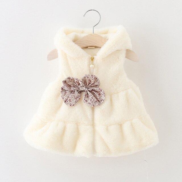 2016 зима осень оптовая чистый цветочный лук с капюшоном жилет ребенок одежда для новорожденных девочек жилет из искусственного меха nowborn детские жилет