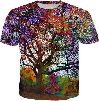 Sonbahar Yıldız Ağacı T Shirt 3d Trippy Ve Psychedelic Tie Boya