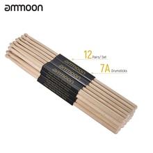 ammoon 12 Pair of 5A/ 7A Drumsticks Wooden Drum Sticks Fraxi