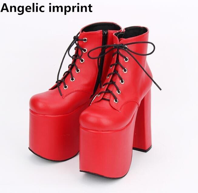 천사의 인형 모리 소녀 레이디 로리타 발목 펑크 부츠 여성 슈퍼 높은 얇은 발 뒤꿈치 펌프 여성 공주 드레스 파티 신발 33 47-에서앵클 부츠부터 신발 의  그룹 1