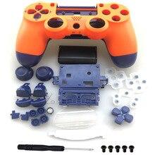 مجموعة كاملة الإسكان شل إصلاح أزرار الحال بالنسبة DualShock 4 بلاي ستيشن 4 PS4 برو jds 040 JDM 040 تحكم غطاء برتقالي أزرق