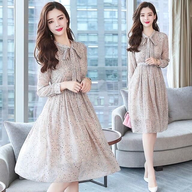 7fa9fd565 2018 otoño invierno nuevo vestido de gasa Floral Midi Bodycon Vestidos  coreanos Boho 2018 vestido elegante