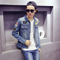 2015 jean jacket men denim jacket restoring ancient ways of cultivate one's morality