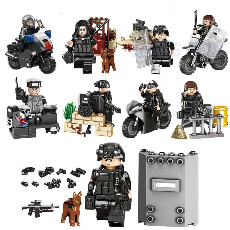 Город Полицейский мотоцикл Swat Team солдаты армии цифры с оружием Пистолеты WW2 блоки игрушка LegoINGlys армии Builder серии игрушки