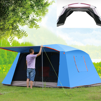 4Corners double layer awning Outdoor canopy tent sunscreen mosquito 5-8 camping shade shelter barbecue beach leisure tent цена 2017