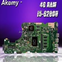 Akemy X555UJ материнская плата для ноутбука ASUS X555UJ X555UF F555U X555UB X555UQ X555UTest оригинальная материнская плата 4G ram I5-6200U
