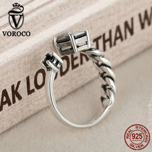 High Quality Aquare and Round Black Braided Cuff Open Adjustable Rings