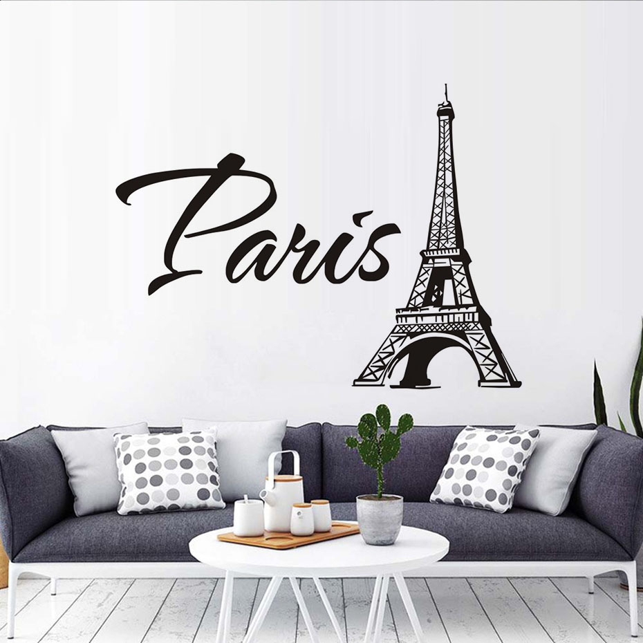 Paris The Eiffel Tower Wall Stickers For Living Room Bedroom TV Sofa ...