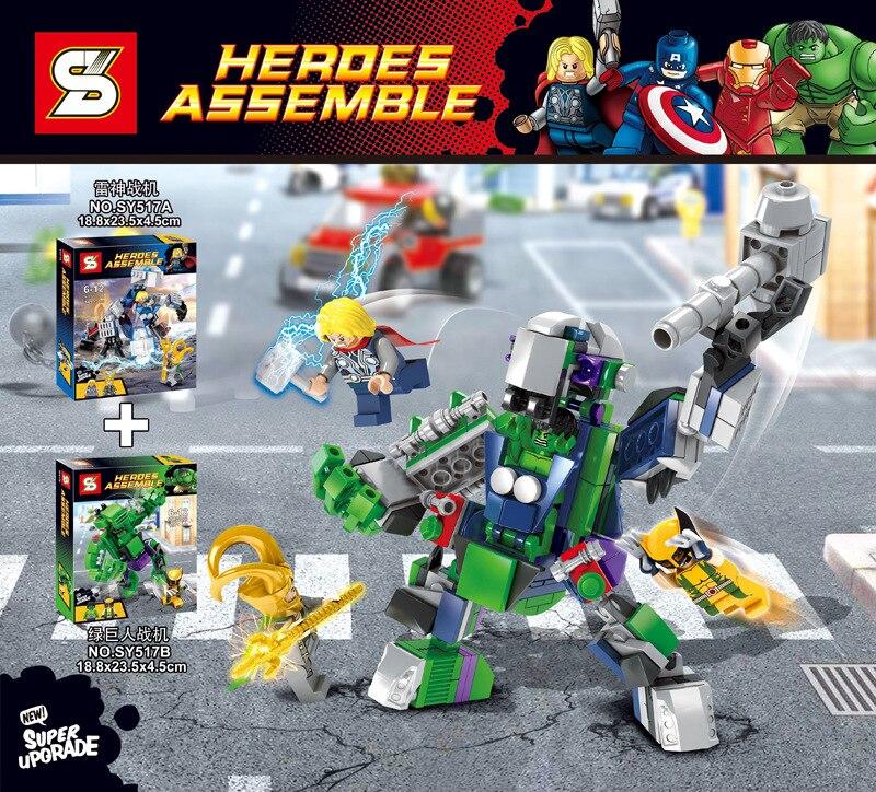 Pogo Lepin 2016 SY517 Thor Hulk Super Heroes Marvel Avengers Building Blocks Bricks Toys Compatible Legoe new avengers season 2 hulk rocky space aircraft carrier breakout super hero minifigures building block compatible with legoe