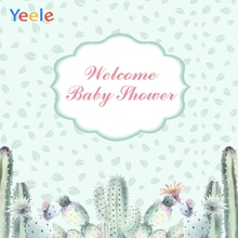 Yeele Baby Shower Photocall Cartoon Leaves Cactus Photography Backdrops Personalized Photographic Backgrounds For Photo Studio