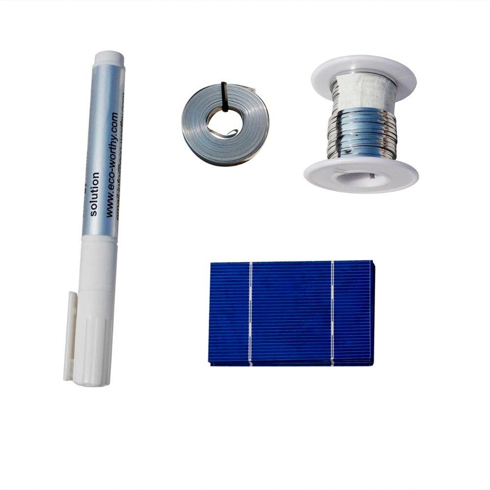 ECO-WORTHY 40 PZ 78x52mm Cella Solare Celle 0.68Wp TB Filo No-piombo Flux Pen per il Solare caricatore