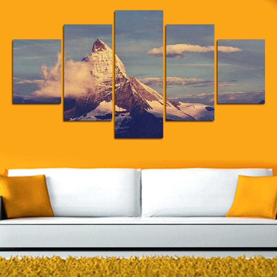 5 piece canvas art Mountain Landscape Home Decor Canvas Art Print ...