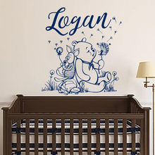 Winnie The Pooh Wall Decal Personalized Boy Name Art Vinyl Sticker For Kids Room Decoration Mural Nursery Bedroom Decor W545