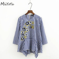 MLIYOYA Women Blouses Spring New Fashion All Match Floral Embroidery Pearl Shirts Casual Loose Blue Embroidred