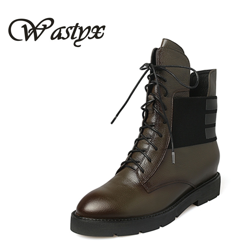 Wastyx new lace-up genuine leather flat heel women ankle boots women shoes causal motorcycles boot winter warm Martin Boots sfzb new square toe lace up genuine leather solid nude women ankle boots thick heel brand women shoes causal motorcycles boot