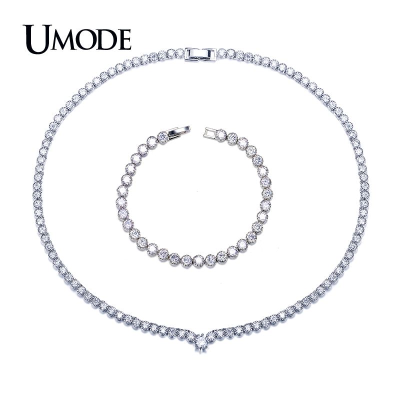 цены UMODE Brand Tennis Bracelet and Round CZ Pendant Necklace Wedding Jewelry Sets for Women Fashion Bijoux Femme Hot Gift AUS0042