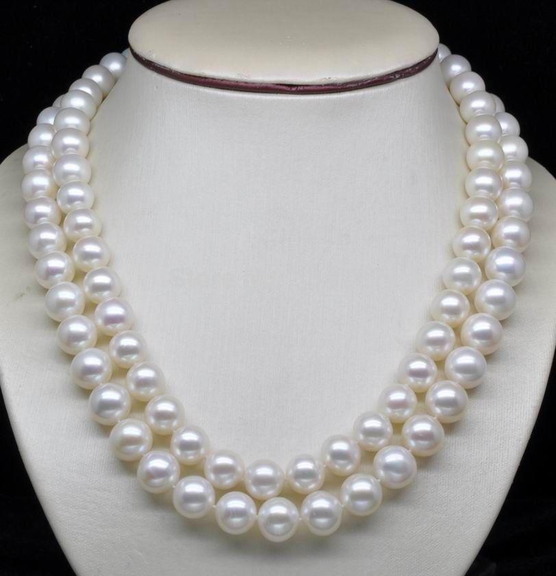 2row Double brin AAA + 8-10MM blanc coquille de mer collier de perles 925 argent fermoir