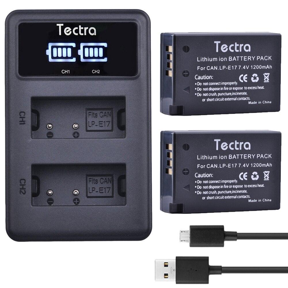 Tectra 2pcs LP-E17 Battery akku+ LED Display USB Dual Charger for Canon EOS 200D Rebel T6i 750D T6s 760D 800D M3 8000D Kiss X8i
