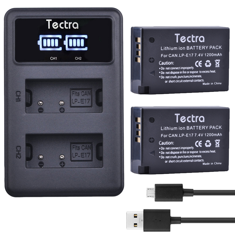 все цены на Tectra 2pcs LP-E17 + LED USB Dual Charger for Canon Lp E17 EOS 200D Rebel T6i S 750D 760D 800D M3 8000D Kiss X8i Camera Battery