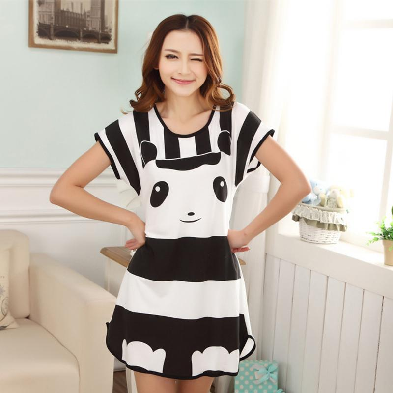Yfashion Women Panda Bear Cat Cartoon Pattern Sleepdress Short Sleeve Summer Lovely Conjoined Home Wear Night Dress for