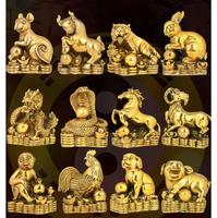 brass twelve Horse and sheep monkey Home furnishings of the dog pig copper craftwork horse sheep Rooster monkey statue Home