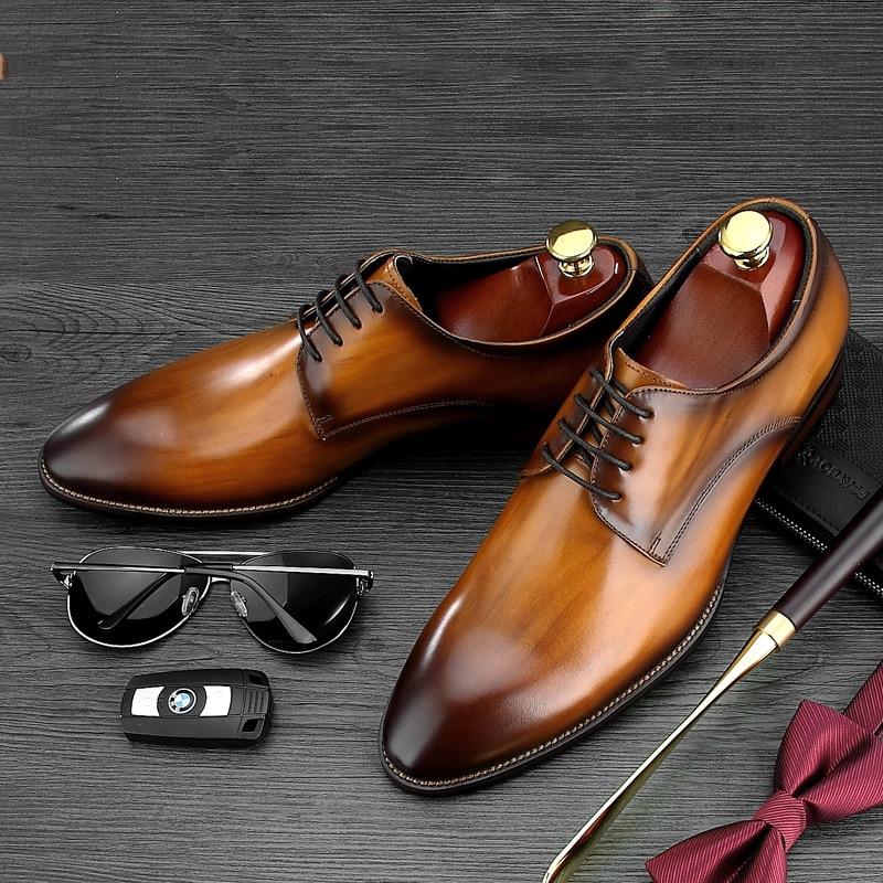Marca Desai Calçados Vintage Casamento Italiano Sapatos coffee Festa Luxo Vestido Derby Black Couro 2019 Do Da De Negócios Mens brown Genuíno Handmade Plana Xwq4rX