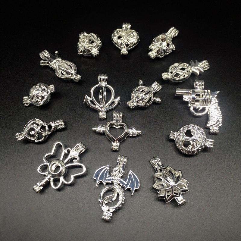 15pcs Silver Tone Mix Shape Necklace Bracelet Jewelry Making Trendy Pearl Cage Locket Pendant Essential Oil