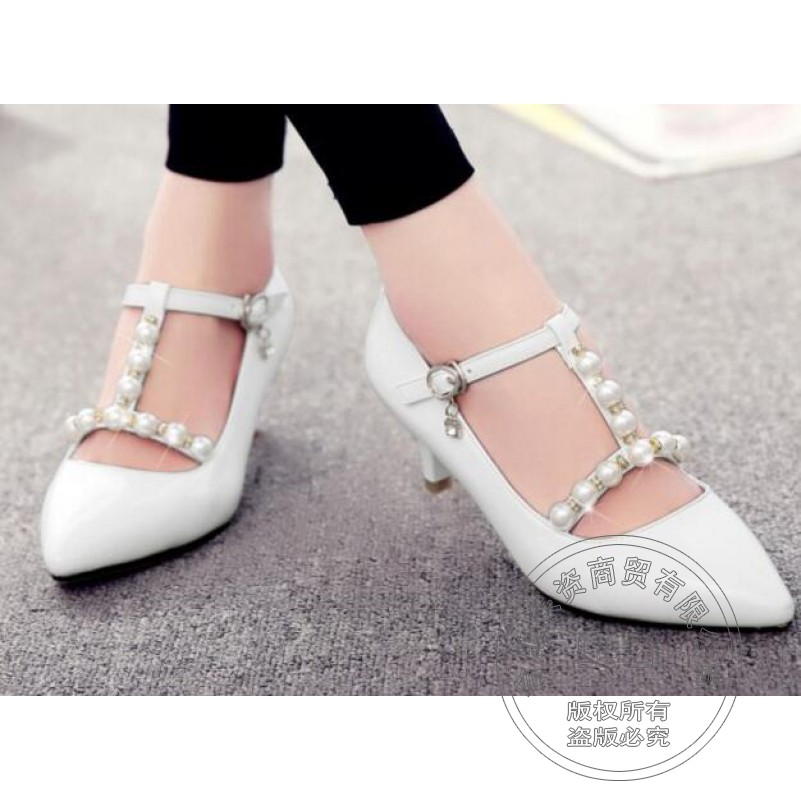 ФОТО Ornate Daily T-Shaped Buckle Pu Plain Decoration Sweet Square Heel Hasp White Microfiber Pearl Shoes Glamour Shoes Women