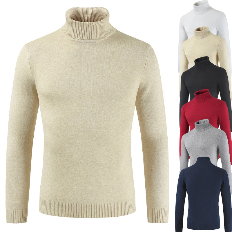Mens Sweater Winter Thick Warm Cashmere Sweater Turtleneck Men Sweaters Slim Fit Pullover Men Classic Solid Knitwear Pull Homme