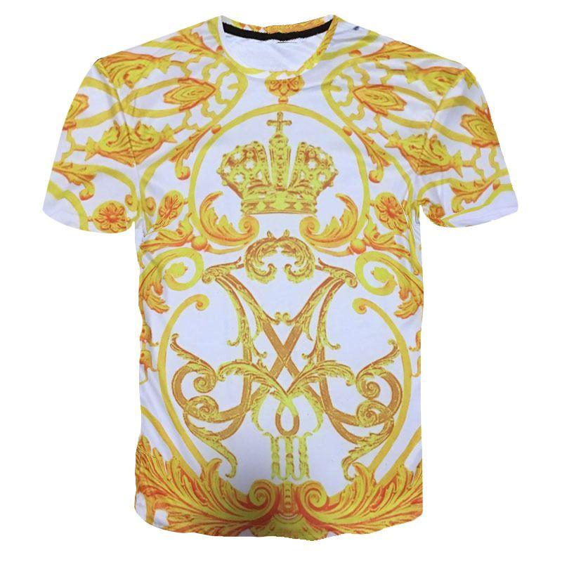 2019 Retro T Shirt Palace Style Royal T Shirt Women/Men Fashion Baroque Crown Gold Flower Print Funny 3D T Shirt Summer Tops Tee