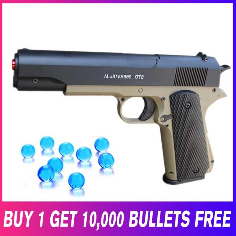 En plastique Gun Arme pour Enfants M1911 Manuel Orbeez Armes-jouets 7-8mm L'eau Potable Paintball Balles Gel Perles jeu de plein air pour les Garçons